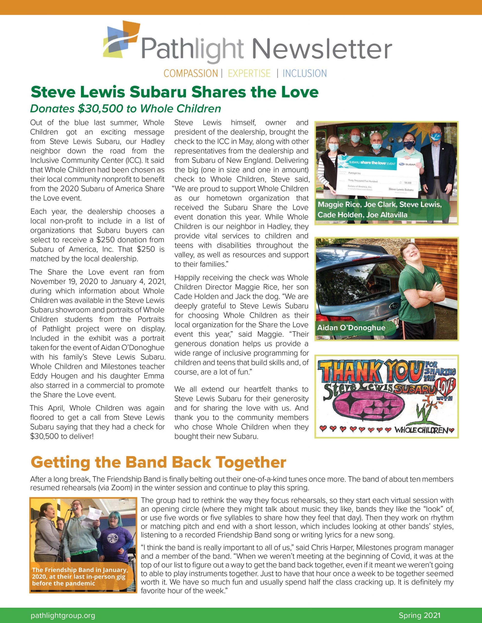 Spring Newsletter 2021 cover